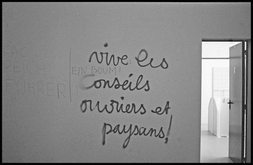 "Students assert their solidarity with workers and peasants. Source: ""Romani"" at phototheque du mouvement social"", phototheque.org"